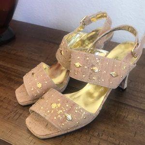 Karla Del Monaco leather and cork heels